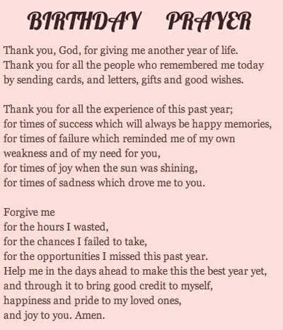 Birthday Prayers For Cards