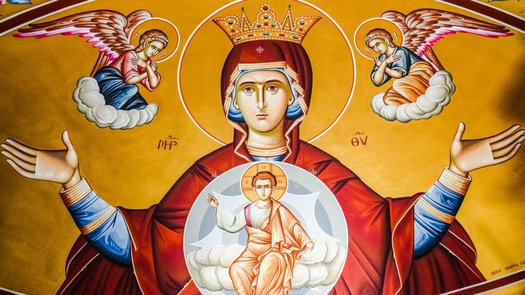 angelus prayer, icon of mary